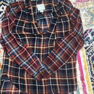 Anthropologie Maeve Plaid Button Up Size XS